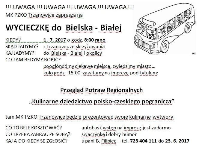 Zaproszenie - wycieczka PZKO TRZANOWICE 2017